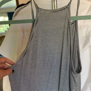 Black and white slight cropped AE tank top